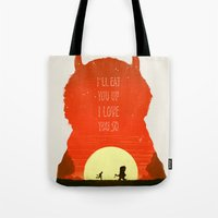 wild things Tote Bags featuring Wild Things by Duke Dastardly