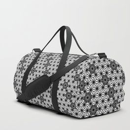 Japanese Asanoha or Star Pattern, Black and White Duffle Bag