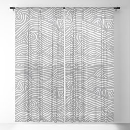 Waves in Charcoal Sheer Curtain