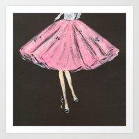 Jolie Pink Fashion Illustration Art Print