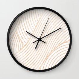 zen lines beige minimal pattern Wall Clock