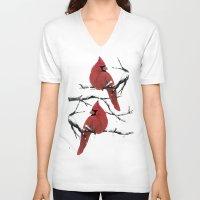 cardinal V-neck T-shirts featuring Cardinal by Ben Geiger