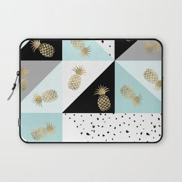 Pastel color block watercolor dots faux gold pineapple Laptop Sleeve
