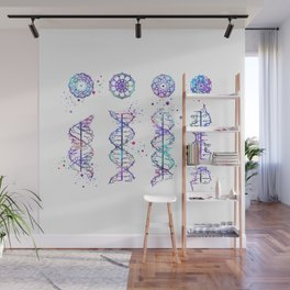 DNA Helix A-B-C-Z Medical Art Genetic Art Colorful Watercolor Gift Wall Mural
