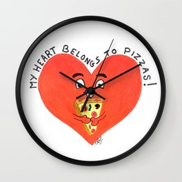 My heart belongs to pizzas Wall Clock