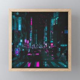 cyberpunk lost street Framed Mini Art Print