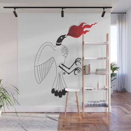 Bird with fire Wall Mural