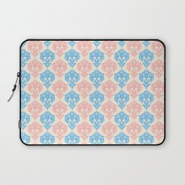 Vintage chic ivory coral blue floral damask pattern Laptop Sleeve