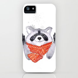 Racoon and snowflakes iPhone Case