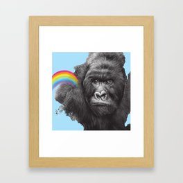 gorilla with rainbow Framed Art Print