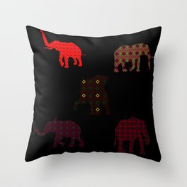 Five Elephants version1 Throw Pillow