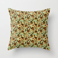 swimming Throw Pillows featuring Swimming by Boiling Point Press