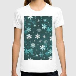 Dark Green Snowflakes T-shirt
