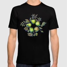 Summer's End - apples and pears Black MEDIUM Mens Fitted Tee