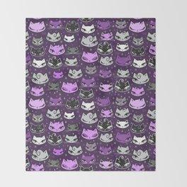Purple Rockabilly Cats Throw Blanket