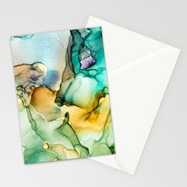 Caribbean Beach- Alcohol Ink Abstract Painting Stationery Cards