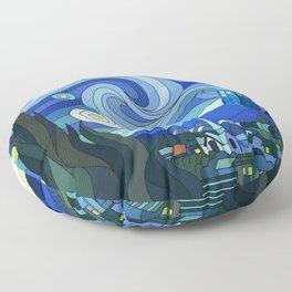 Tardis Art Starry Night Floor Pillow