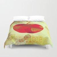 pie Duvet Covers featuring Appel pie by Design me cherry