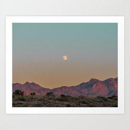 Sunset Moon Ridge // Grainy Red Mountain Range Desert Landscape Photography Yellow Fullmoon Blue Sky Art Print