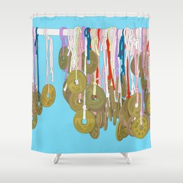 Lucky Five Yen Coins Shower Curtain