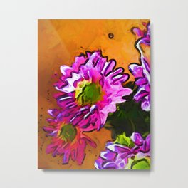 Posy of Pink and Green Daisies Metal Print
