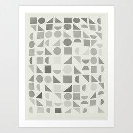 Greyscale Shapes Art Print