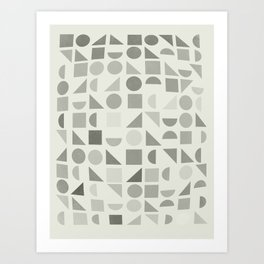 Greyscale Shapes Art Print
