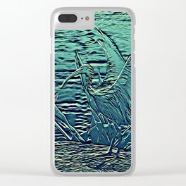 Japanese Bird Engraving Clear iPhone Case