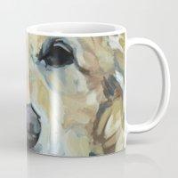 golden retriever Mugs featuring Shiner the Golden Retriever by Barking Dog Creations Studio