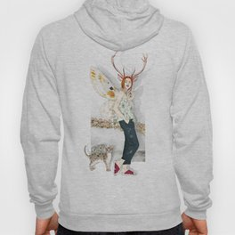 Deer Woman and Butterfly Cat Hoody