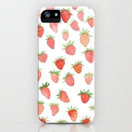 Watercolor Strawberries iPhone Case