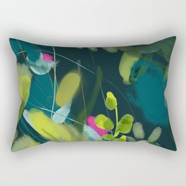 abstract jungle fever leaves in floral green Rectangular Pillow