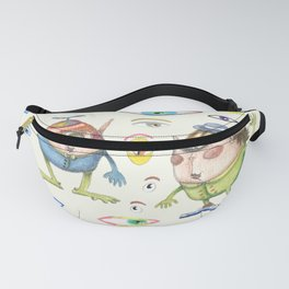 two quirky cute roly poly cyclops and some eyes, ivory cream off white natural white Fanny Pack