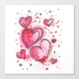 Pink Hearts For You Canvas Print