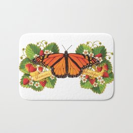 Monarch Butterfly with Strawberries Illustration Bath Mat