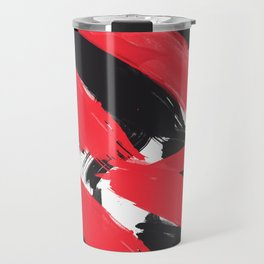 Modern Abstract Black Red Brush Strokes Pattern Travel Mug