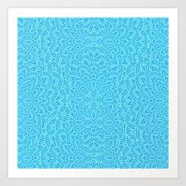 Mandala Flowers turquoise blue Art Print