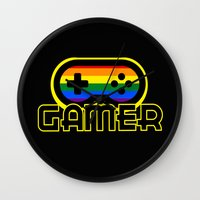 gamer Wall Clocks featuring Rainbow Gamer by UMe Images