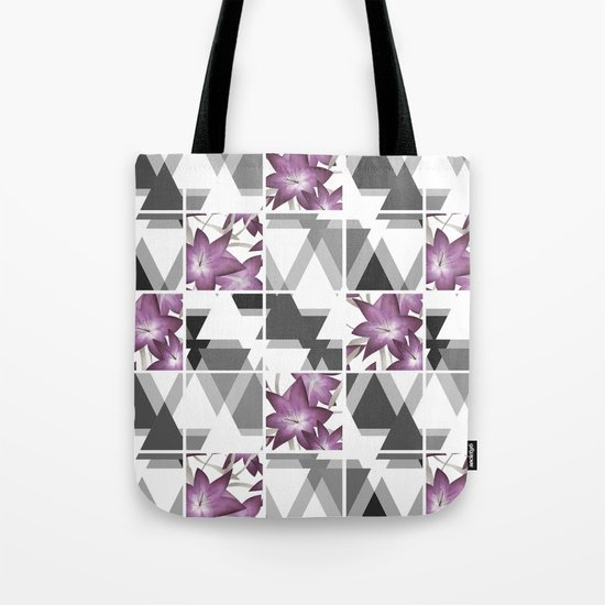Pink lilies on grey triangles . Tote Bag