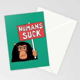 Chimp: Humans Suck Stationery Cards