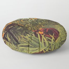 Apes in the Orange Grove by Henri Rousseau 1910 // Colorful Jungle Animal Landscape Scene Floor Pillow