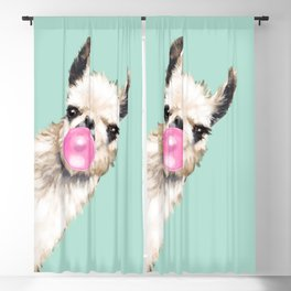 Bubble Gum Sneaky Llama in Green Blackout Curtain