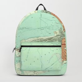 Vintage Map of Galveston Texas (1954) 3 Backpack