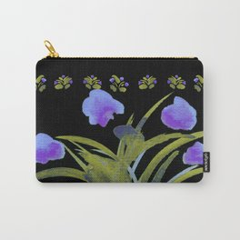 Atom Flowers #34 in purple and green Carry-All Pouch