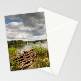 Old bridge and boats at the lake Stationery Cards