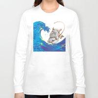 hokusai Long Sleeve T-shirts featuring Hokusai Rainbow & Hippopotamus Fishing  by FACTORIE