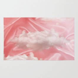 """Pink pastel spring sky with clouds"" Rug"