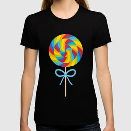 candy lollipop with bow, colorful spiral candy cane T-shirt