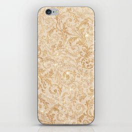 Elegant vintage faux gold glitter antique floral damask iPhone Skin