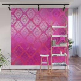 """""""Magenta Pink Damask Pattern"""" Wall Mural"""